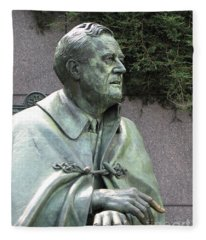 Fdr Statue At His Memorial In Washington Dc Fleece Blanket