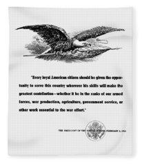 Fdr War Quote Fleece Blanket
