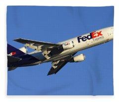 Fedex Mcdonnell-douglas Md-10-10f N366fe Phoenix Sky Harbor December 23 2010 Fleece Blanket