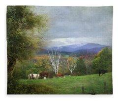 Feeding On A Hillside Fleece Blanket