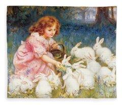 Feeding The Rabbits Fleece Blanket