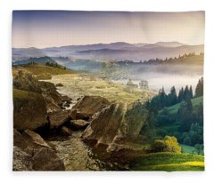 Feeding The Waterfall Montage Fleece Blanket