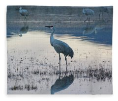 Fleece Blanket featuring the pyrography Feeling Blue by Michael Lucarelli