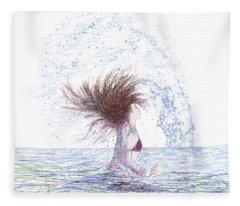 Feeling The Energy Of The Sea Sketch Fleece Blanket