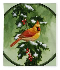 Female Cardinal And Holly Phone Case Fleece Blanket
