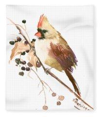 Female Cardinal Bird Fleece Blanket