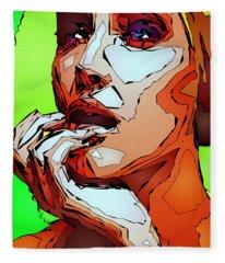 Fleece Blanket featuring the digital art Female Expressions by Rafael Salazar