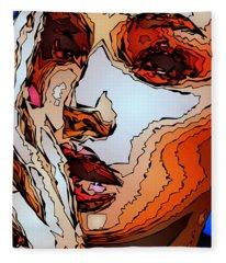 Fleece Blanket featuring the digital art Female Expressions Viii by Rafael Salazar
