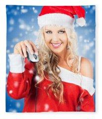 Female Santa Claus Christmas Shopping Online Fleece Blanket