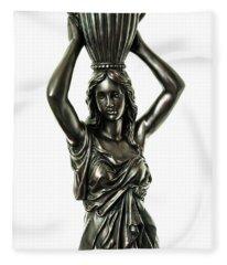 Female Water Goddess Bronze Statue 3288a Fleece Blanket