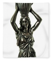 Female Water Goddess Bronze Statue 3288a Fleece Blanket
