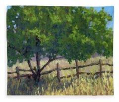 Fence Line Tree Fleece Blanket