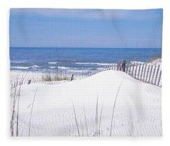 Fence On The Beach, Gulf Of Mexico, St Fleece Blanket
