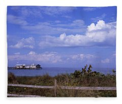 Fence On The Beach With A Pier Fleece Blanket