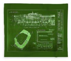Fenway Park Blueprints Home Of Baseball Team Boston Red Sox Fleece Blanket