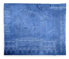 Fenway Park Blueprints Home Of Baseball Team Boston Red Sox On Worn Parchment Fleece Blanket