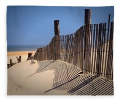 Fenwick Dune Fence And Shadows Fleece Blanket