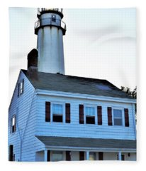 Fenwick Island Lighthouse And Keeper Home Fleece Blanket