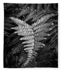 Fern In Black And White Fleece Blanket