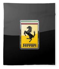 Ferrari - 3 D Badge On Black Fleece Blanket