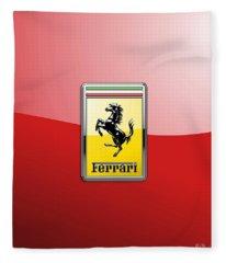 Ferrari 3d Badge-hood Ornament On Red Fleece Blanket