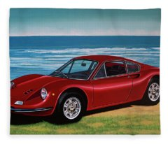 Ferrari Dino 246 Gt 1969 Painting Fleece Blanket