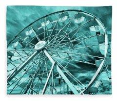 Ferris Wheel Blues Fleece Blanket