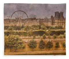 Paris, France - Ferris Wheel Fleece Blanket