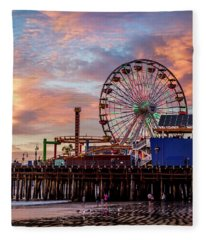 Ferris Wheel On The Pier Fleece Blanket