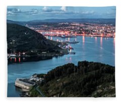 Ferrol's Estuary Panorama From La Bailadora Galicia Spain Fleece Blanket
