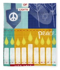 Festival Of Lights- Hanukkah Art By Linda Woods Fleece Blanket