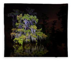 Festooned Cypress Tree Fleece Blanket