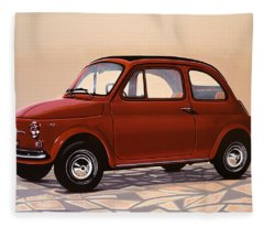 Fiat 500 1957 Painting Fleece Blanket