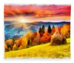 Field Of Autumn Haze Painting Fleece Blanket