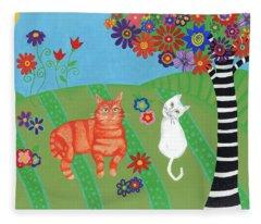 Kitty Cat Meadows Fleece Blanket