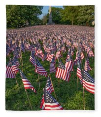Field Of Flags At Boston's Soldiers And Sailors Monument Fleece Blanket