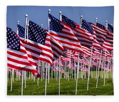 Field Of Flags For Heroes Fleece Blanket