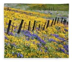 Field Of Gold And Purple Fleece Blanket
