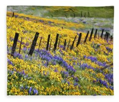 Field Of Gold And Purple Fleece Blanket