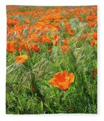 Field Of Orange Poppies- Art By Linda Woods Fleece Blanket