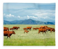 Field Of Reds Fleece Blanket
