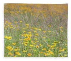 Field Of Yellow Flowers In A Sunny Spring Day Fleece Blanket