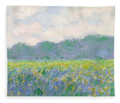 Field Of Yellow Irises At Giverny Fleece Blanket
