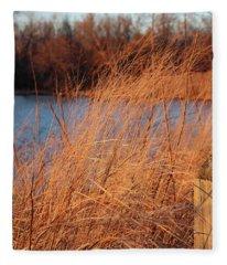 Amber Brush On The River Fleece Blanket