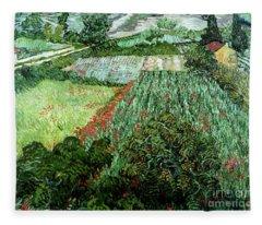 Field With Poppies Fleece Blanket
