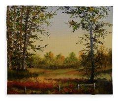Fields And Trees Fleece Blanket