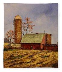 Fields Ready For Fall Fleece Blanket