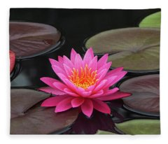 Fiery Beauty Of A Waterlily Fleece Blanket