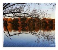Fiery Colors On The Lake Fleece Blanket