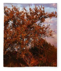 Fiery Elm Tree  Fleece Blanket